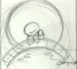 Watching the World Go By (Study I) by Doug Hyde -  sized 4x4 inches. Available from Whitewall Galleries